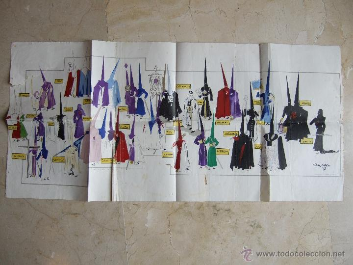 MALAGA - SEMANA SANTA - LAMINA 60X30 APROX - COFRADIAS DE MALAGA - ANSALDO 1947? - FAUSTO MUÑOZ (Coleccionismo - Carteles Gran Formato - Carteles Semana Santa)