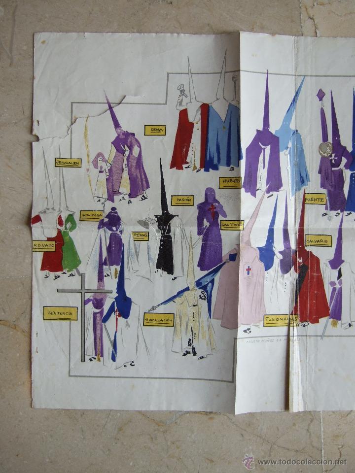 Carteles de Semana Santa: MALAGA - SEMANA SANTA - LAMINA 60X30 APROX - COFRADIAS DE MALAGA - ANSALDO 1947? - FAUSTO MUÑOZ - Foto 2 - 46768866