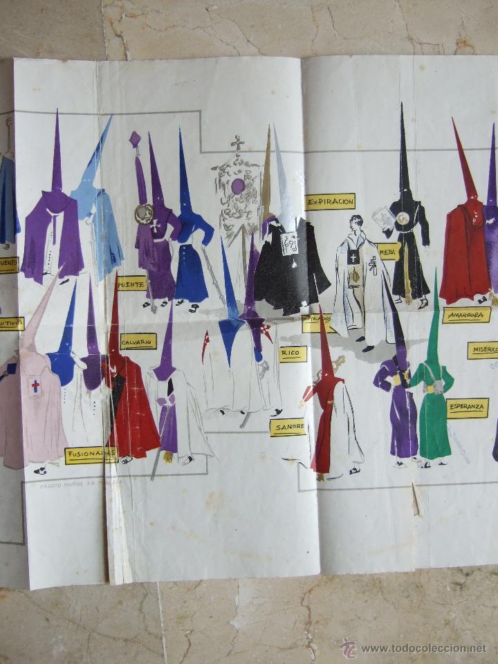 Carteles de Semana Santa: MALAGA - SEMANA SANTA - LAMINA 60X30 APROX - COFRADIAS DE MALAGA - ANSALDO 1947? - FAUSTO MUÑOZ - Foto 3 - 46768866