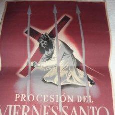 Carteles de Semana Santa: CARTEL SEMANA SANTA . PROCESION VIERNES SANTO BARCELONA 1949 . 33 / 24CM VIZA . Lote 47418482
