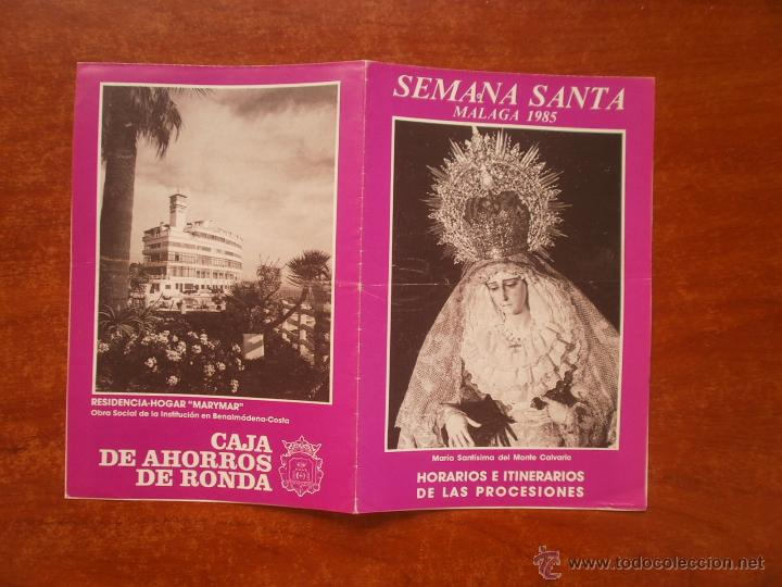HORARIO E ITINERARIO DE SEMANA SANTA EN MALAGA AÑO 1985 (Coleccionismo - Carteles Gran Formato - Carteles Semana Santa)
