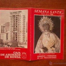Carteles de Semana Santa: HORARIO E ITINERARIO DE SEMANA SANTA EN MALAGA AÑO 1986. Lote 50205327