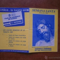 Carteles de Semana Santa: HORARIO E ITINERARIO DE SEMANA SANTA EN MALAGA AÑO 1987. Lote 185977728
