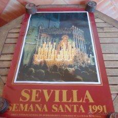 Carteles de Semana Santa: CARTEL DE LA SEMANA SANTA DE SEVILLA MIDE 88 X 58 CM VIRGENDEL VALLE 1991. Lote 52622985