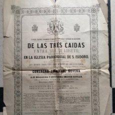 Carteles de Semana Santa: CARTEL 1879 NOVENA HERMANDAD COFRADÍA JESÚS TRES CAIDAS LORETO IGLESIA PARROQUIA SAN ISIDORO SEVILLA. Lote 53520045