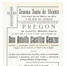 Carteles de Semana Santa: ALCAÑIZ .- FOLLETO SEMANA SANTA 1972 .- PREGON DE DON ADOLFO CASTILLO GENZOR. Lote 53742827