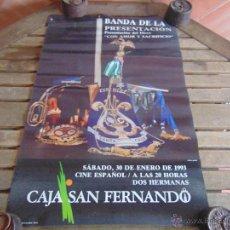 Carteles de Semana Santa: CARTEL BANDA PREESENTACION DISCO CON AMOR Y SACRIFICIO 1993 DOS HERMANAS MIDE 70 X 45 CM. Lote 53755866