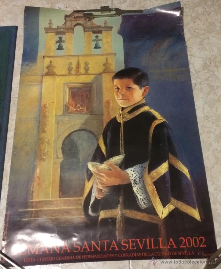 PÓSTER DE LA SEMANA SANTA DE SEVILLA 2002. 52 X 78 CM. (Coleccionismo - Carteles Gran Formato - Carteles Semana Santa)