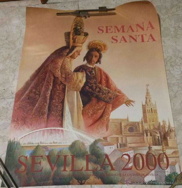PÓSTER DE LA SEMANA SANTA DE SEVILLA AÑO 2000. 52 X 78 CM. NUEVO. (Coleccionismo - Carteles Gran Formato - Carteles Semana Santa)