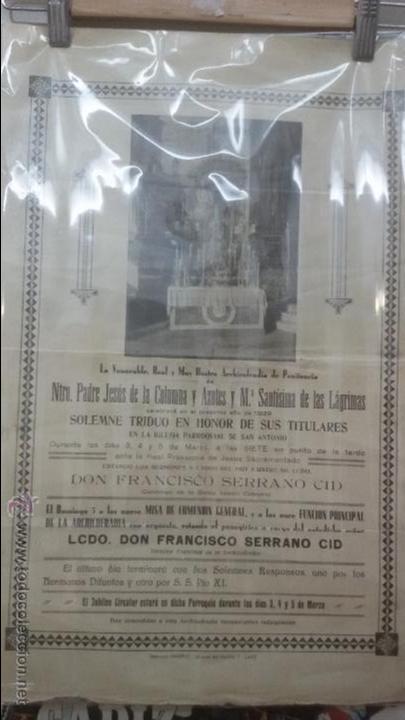 CARTEL RELIGIOSO CONVOCATORIA CULTOS COFRADIA DE COLUMNA DE CADIZ AÑO 1939 - SEMANA SANTA (Coleccionismo - Carteles Gran Formato - Carteles Semana Santa)