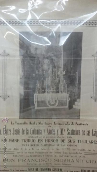 Carteles de Semana Santa: CARTEL RELIGIOSO CONVOCATORIA CULTOS COFRADIA DE COLUMNA DE CADIZ AÑO 1939 - SEMANA SANTA - Foto 2 - 54540460