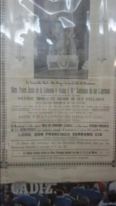 Carteles de Semana Santa: CARTEL RELIGIOSO CONVOCATORIA CULTOS COFRADIA DE COLUMNA DE CADIZ AÑO 1939 - SEMANA SANTA - Foto 3 - 54540460