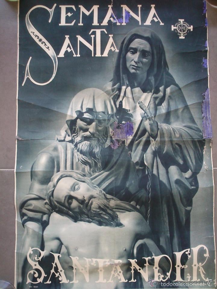 Carteles de Semana Santa: CARTEL. SEMANA SANTA. SANTANDER. AÑOS 50. EL DE LA FOTO. 55 X 40CM - Foto 3 - 57591956