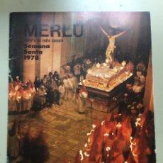Carteles de Semana Santa: MERLÚ AÑO 1978. SEMANA SANTA ZAMORA. . Lote 77601329