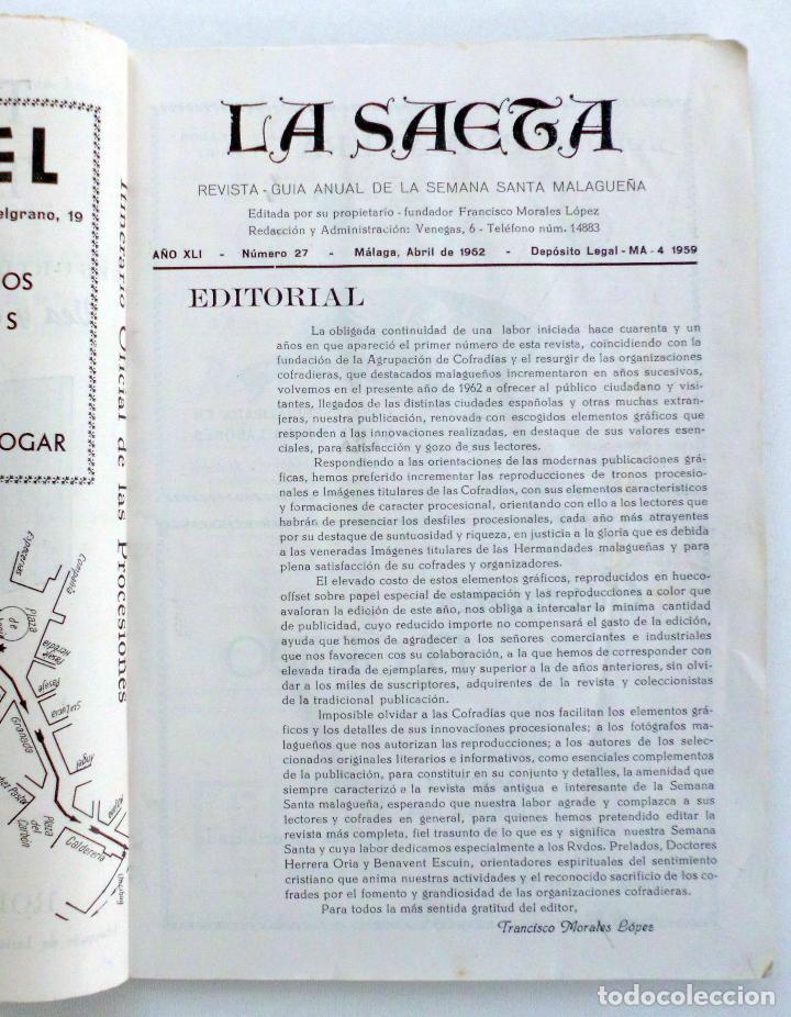 Carteles de Semana Santa: REVISTA LA SAETA SEMANA SANTA DE MALAGA AÑO 1962 LEER - Foto 2 - 83154224