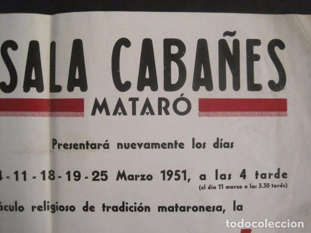 Carteles de Semana Santa: CARTEL MATARO-LA PASSIO -SALA CABAÑES - AÑO 1951 -MIDE 35 X 49 CM-VER FOTOS-(V-10.583) - Foto 2 - 83298904