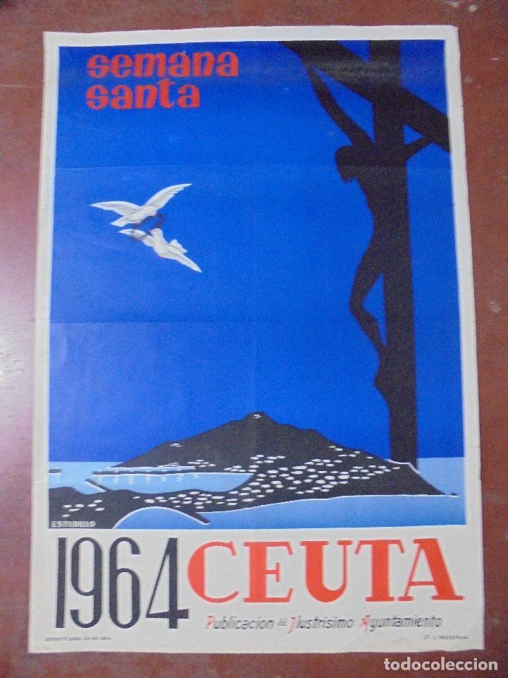CARTEL. SEMANA SANTA, 1964. CEUTA. DIBUJANTE ESTUDILLO. 99 X 69 CM (Coleccionismo - Carteles Gran Formato - Carteles Semana Santa)