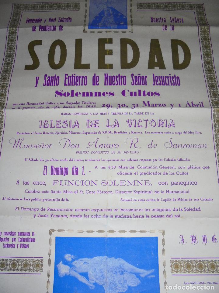 Carteles de Semana Santa: CARTEL. 1962. PTO. REAL. COFRADIA PENITENCIA Y NUESTRA SEÑORA LA SOLEDAD Y SANTO ENTIERRO. 55X40CM - Foto 2 - 84905824