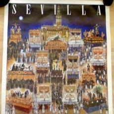 Carteles de Semana Santa: SEMANA SANTA SEVILLA, CARTEL LUNES SANTO, 1988, RELACION DE COFRADIAS,RARO,49X68 CMS. Lote 85399176