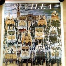 Carteles de Semana Santa: SEMANA SANTA SEVILLA, CARTEL VIERNES SANTO TARDE, 1988, RELACION DE COFRADIAS,RARO,49X68 CMS. Lote 85399520