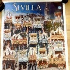 Carteles de Semana Santa: SEMANA SANTA SEVILLA, CARTEL MIERCOLES SANTO, 1988, RELACION DE COFRADIAS,RARO,49X68 CMS. Lote 85399592