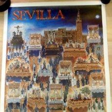 Carteles de Semana Santa: SEMANA SANTA SEVILLA, CARTEL JUEVES SANTO, 1988, RELACION DE COFRADIAS,RARO,49X68 CMS. Lote 85399752