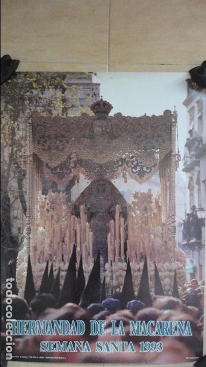 ANTIGUO CARTEL.HERMANDAD DE LA MACARENA.SEMANA SANTA SEVILLA.1993.FOTO ANGEL BAJUELO. (Coleccionismo - Carteles Gran Formato - Carteles Semana Santa)