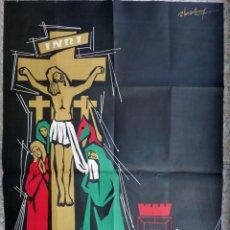 Carteles de Semana Santa: CARTEL SEMANA SANTA , CARTAGENA 1957 , POR ALONSO , LITOGRAFIA , ORIGINAL. Lote 92378310