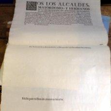 Carteles de Semana Santa: SEVILLA, 1700, ESPECTACULAR EDICTO REPARTO DE DOTE HERMANDAD SACRAMENTAL DEL SALVADOR. Lote 96087731