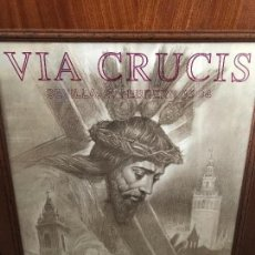 Carteles de Semana Santa: ANTIGUO CARTEL ENMARCADO VIA CRUCIS SEVILLA 1994 HERMANDAD DE LA O. Lote 97440375