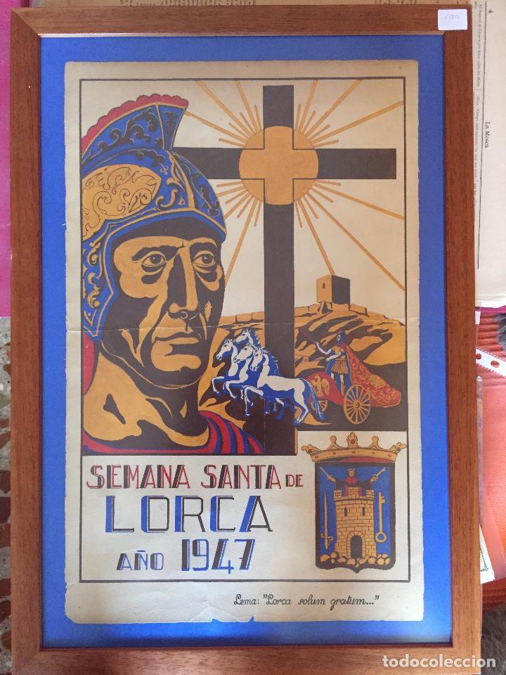LORCA-MURCIA- SEMANA SANTA 1.947- CARTEL ENMARCADO (Coleccionismo - Carteles Gran Formato - Carteles Semana Santa)