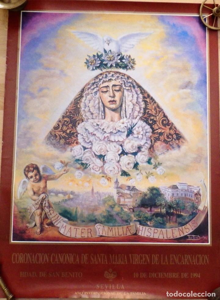 SEVILLA,1994, CARTEL ORIGINAL DE LA CORONACION DE LA VIRGEN DE LA ENCARNACION, SAN BENITO,51X70 CMS (Coleccionismo - Carteles Gran Formato - Carteles Semana Santa)