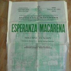 Carteles de Semana Santa: SEMANA SANTA SEVILLA : CARTEL ESPERANZA MACARENA, SOLEMNE FUNCION Y BESAMANOS , 1975. Lote 110216895