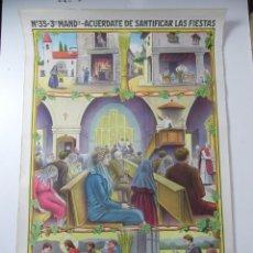Carteles de Semana Santa: CARTEL RELIGIOSO, 3º MANDAMIENTO, ACUERDATE DE SANTIFICAR LAS FIESTAS, EDIT.: JOSÉ VILAMALA, BARCELO. Lote 107410607