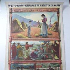 Affiches de Semaine Sainte: CARTEL RELIGIOSO, 4º MANDAMIENTO, HONRA A TU PADRE Y A TU MADRE, EDIT.: JOSÉ VILAMALA, BARCELONA, N.. Lote 107410855