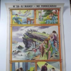 Affiches de Semaine Sainte: CARTEL RELIGIOSO, 6º MANDAMIENTO, NO FORNICARAS, EDIT.: JOSÉ VILAMALA, BARCELONA, N. 39, MIDE 100 X . Lote 107411027