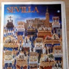 Carteles de Semana Santa: SEMANA SANTA SEVILLA, CARTEL JUEVES SANTO, 1988, RELACION DE COFRADIAS,RARO,49X68 CMS. Lote 107819443
