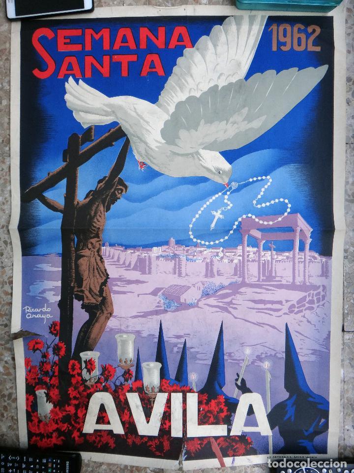 CARTEL SEMANA SANTA , AVILA , 1962 , RICARDO ANAYA , ORIGINAL ,C2 (Coleccionismo - Carteles Gran Formato - Carteles Semana Santa)