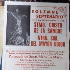 Carteles de Semana Santa: RONDA, 1987, CARTEL CULTOS CRISTO DE LA SANGRE, 44X64 CMS. Lote 109475911
