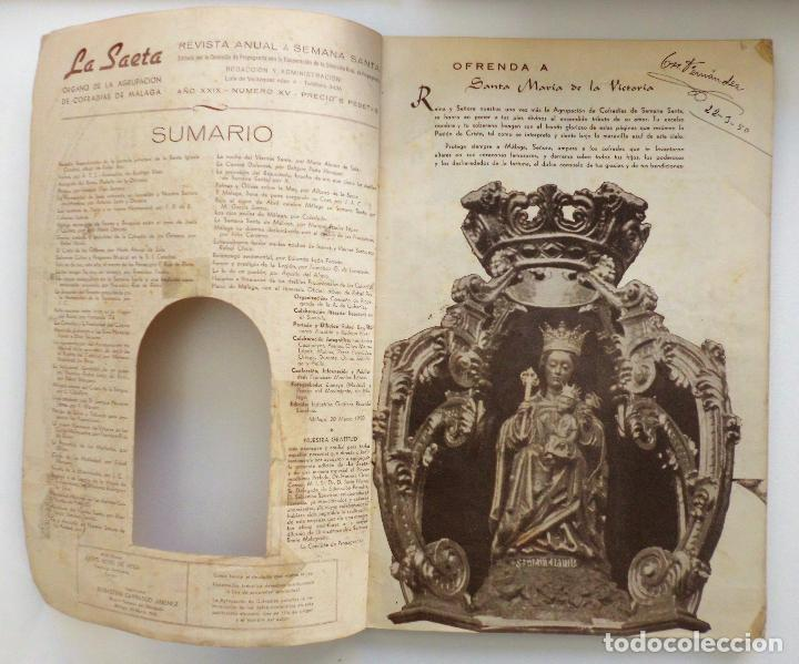 Carteles de Semana Santa: REVISTA LA SAETA AÑO 1950 SEMANA SANTA DE MALAGA - Foto 2 - 110131775