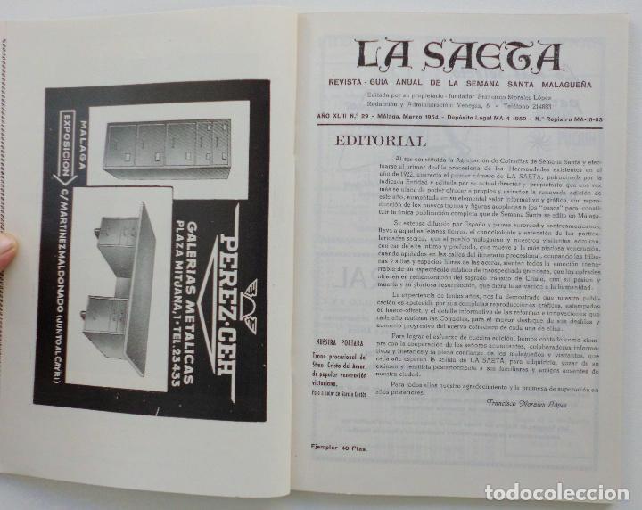 Carteles de Semana Santa: REVISTA LA SAETA AÑO 1964 SEMANA SANTA DE MALAGA - Foto 9 - 110132251