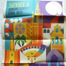 Carteles de Semana Santa: CARTEL DE SEMANA SANTA Y FERIA. SEVILLA. 1970. DANIEL PUCH. GRAFICAS DEL SUR. 49 X 70 CM. Lote 114624095
