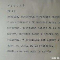 Carteles de Semana Santa: REGLAS DE HERMANDAD PADRE JESUS NAZARENO, CRISTO BUENA MUERTE. Lote 115294295