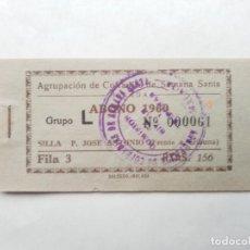 Carteles de Semana Santa: ABONO SEMANA SANTA 1960 MALAGA - AGRUPACION DE COFRADIAS - ENTRADA . Lote 115709979