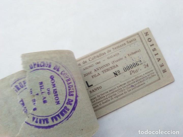 Carteles de Semana Santa: ABONO SEMANA SANTA 1960 MALAGA - AGRUPACION DE COFRADIAS - PLAZA JOSÈ ANTONIO - ENTRADA - Foto 3 - 221661920