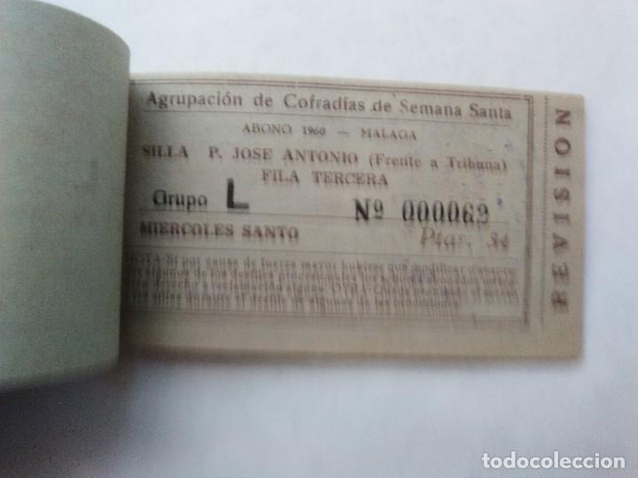 Carteles de Semana Santa: ABONO SEMANA SANTA 1960 MALAGA - AGRUPACION DE COFRADIAS - PLAZA JOSÈ ANTONIO - ENTRADA - Foto 4 - 221661920