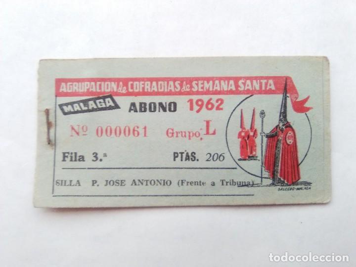 Usado, ABONO SEMANA SANTA 1962 MALAGA - AGRUPACION DE COFRADIAS - SILLA PLAZA JOSÈ ANTONIO - ENTRADA segunda mano