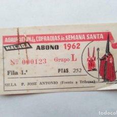 Carteles de Semana Santa: TAPA DE ABONO SEMANA SANTA 1962 MALAGA - AGRUPACION DE COFRADIAS - PLAZA JOSÈ ANTONIO - ENTRADA . Lote 116381259