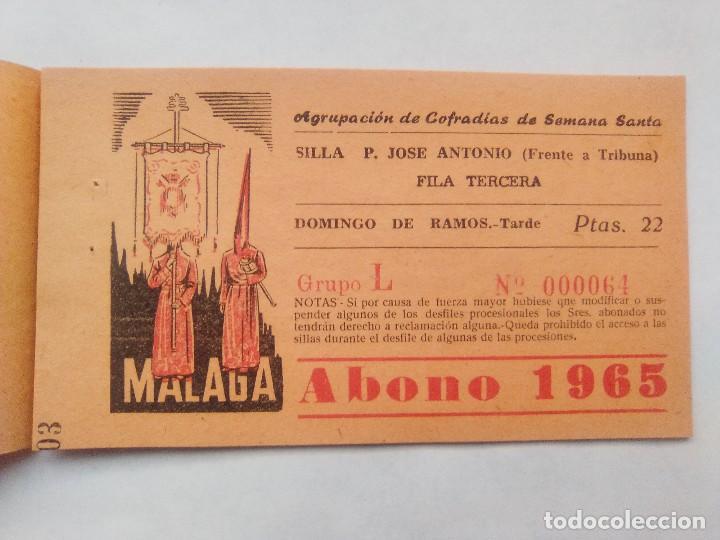 Carteles de Semana Santa: ABONO SEMANA SANTA 1965 MALAGA - AGRUPACION DE COFRADIAS - SILLA PLAZA JOSÈ ANTONIO - ENTRADA - Foto 3 - 221661972