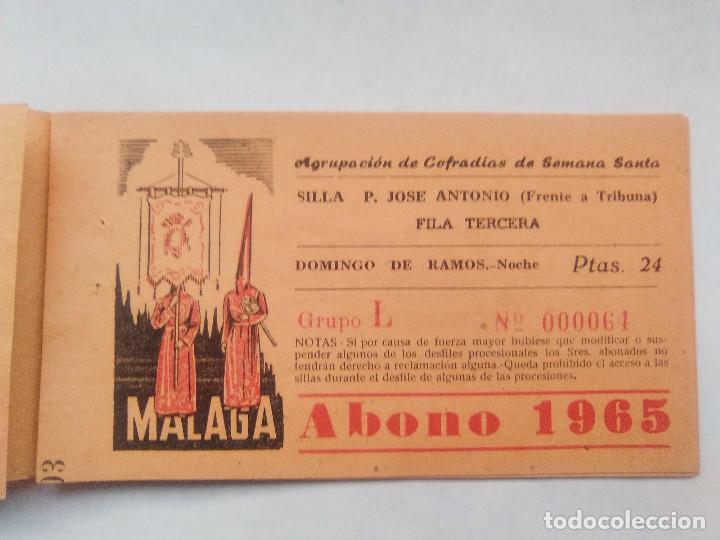 Carteles de Semana Santa: ABONO SEMANA SANTA 1965 MALAGA - AGRUPACION DE COFRADIAS - SILLA PLAZA JOSÈ ANTONIO - ENTRADA - Foto 4 - 221661972